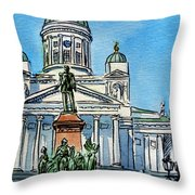 Helsinki Finland Throw Pillow by Irina Sztukowski