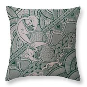 Henna Throw Pillow by M Ande