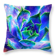 Hens And Chicks Series - Touches Of Blue  Throw Pillow by Moon Stumpp