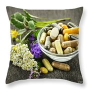 Herbal Medicine And Herbs Throw Pillow by Elena Elisseeva