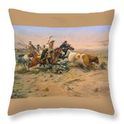 Herd Quit Throw Pillow by Charles Russell