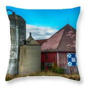 Hexagon Quilt Barn Throw Pillow by Paul Freidlund