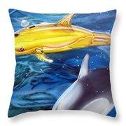 High Tech Dolphins Throw Pillow by Thomas J Herring