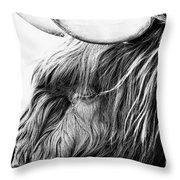 Highland Cow Mono Throw Pillow by John Farnan