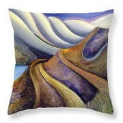 Highway With Fog Throw Pillow by Jen Norton