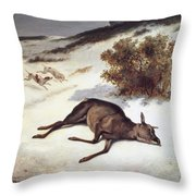 Hind Forced Down In The Snow Throw Pillow by Gustave Courbet