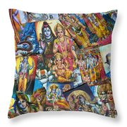 Hindu Deity Posters Throw Pillow by Tim Gainey