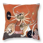 Hindu Goddess Durga Fights Mahishasur Throw Pillow by Photo Researchers