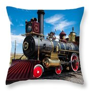 Historic Steam Locomotive - Promontory Point Throw Pillow by Gary Whitton