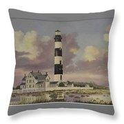 History Of Morris Lighthouse Throw Pillow by Wanda Dansereau