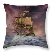 H.M.S Victory Throw Pillow by Jean Walker
