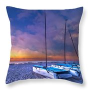 Hobecats Throw Pillow by Debra and Dave Vanderlaan