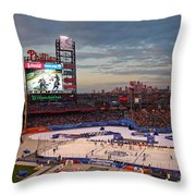 Hockey at the Ballpark Throw Pillow by David Rucker