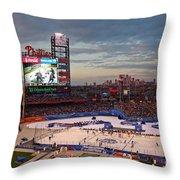 Hockey At The Ballpark Throw Pillow by David Rucker