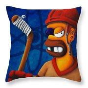 Hockey Homer Throw Pillow by Marlon Huynh