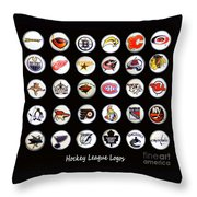 Hockey League Logos Bottle Caps Throw Pillow by Barbara Griffin