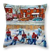 HOCKEY RINK AT VAN HORNE MONTREAL Throw Pillow by CAROLE SPANDAU