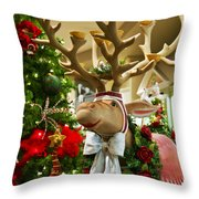 Holiday Reindeer Throw Pillow by Jon Berghoff