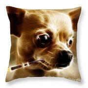 Hollywood Fifi Chika Chihuahua - Electric Art - With Text Throw Pillow by Wingsdomain Art and Photography