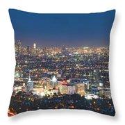 Hollywood Skyline Night Magic Hour Los Angeles Ca  Throw Pillow by David Zanzinger