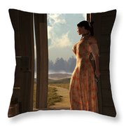 Homestead Woman Throw Pillow by Daniel Eskridge