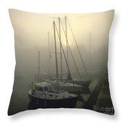 Honfleur Harbour In Fog. Calvados. Normandy Throw Pillow by Bernard Jaubert
