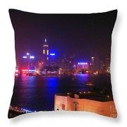 Hong Kong Skyline Throw Pillow by Pixel  Chimp