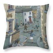 Hopscotch Down The Hill Throw Pillow by Peter Adderley