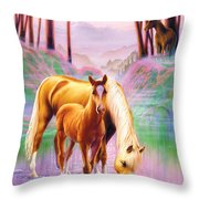 Horse And Foal Throw Pillow by Andrew Farley
