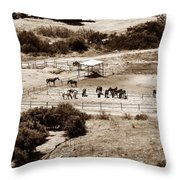 Horse Farm At Kourion Throw Pillow by John Rizzuto