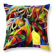 Horse Hues Throw Pillow by Sherry Shipley