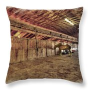 Horse In Barn Throw Pillow by Dan Friend