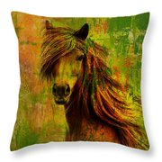Horse paintings 001 Throw Pillow by Catf