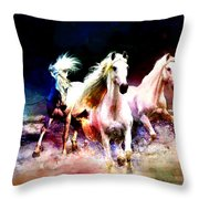Horse Paintings 002 Throw Pillow by Catf