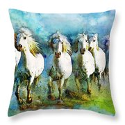 Horse Paintings 005 Throw Pillow by Catf