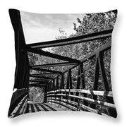 Horse Pen Creek Bridge Black And White Throw Pillow by Sandi OReilly