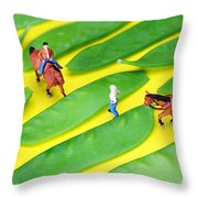 Horse Riding On Snow Peas Little People On Food Throw Pillow by Paul Ge