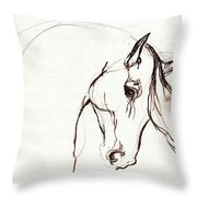 Horse Sketch Throw Pillow by Angel  Tarantella