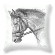Horse's Head with Bridle Throw Pillow by Sarah Parks