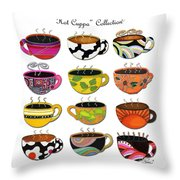 Hot Cuppa Whimsical Colorful Coffee Cup Designs By Romi Throw Pillow by Megan Duncanson