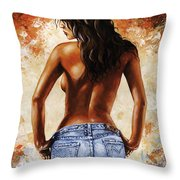 Hot Jeans 02 Blue Throw Pillow by Emerico Imre Toth