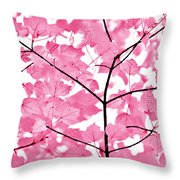Hot Pink Leaves Melody Throw Pillow by Jennie Marie Schell