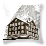 Hotel Des Alpes And Eiger North Face Throw Pillow by Frank Tschakert