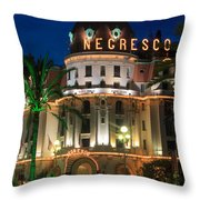 Hotel Negresco By Night Throw Pillow by Inge Johnsson