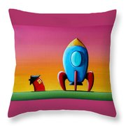 House Builds A Rocketship Throw Pillow by Cindy Thornton
