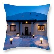 House In Winter Throw Pillow by Michal Bednarek