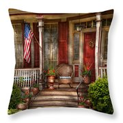 House - Porch - Belvidere Nj - A Classic American Home  Throw Pillow by Mike Savad