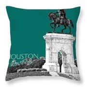 Houston Sam Houston Monument - Sea Green Throw Pillow by DB Artist