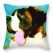 How Bout A Kiss - St Bernard Art by Sharon Cummings Throw Pillow by Sharon Cummings
