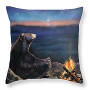 How Grandfather Bear Created The Stars Throw Pillow by J W Baker